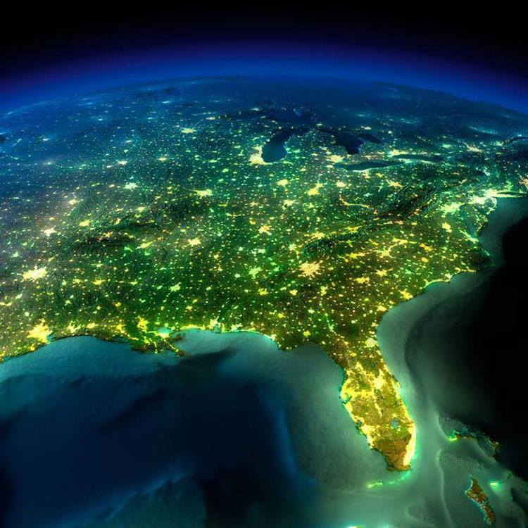نمایی از شب و چراغ های روشن مکزیک