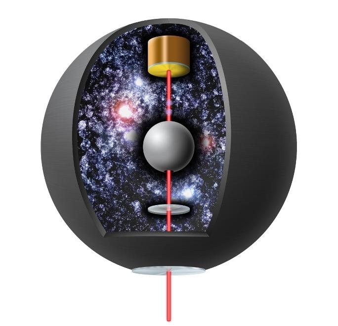 این تصویر به صورت فرضی از آزمایشی را نشان می دهد که برای ردیابی ذرات انرژی تاریک مخفی ابداع شده است.
