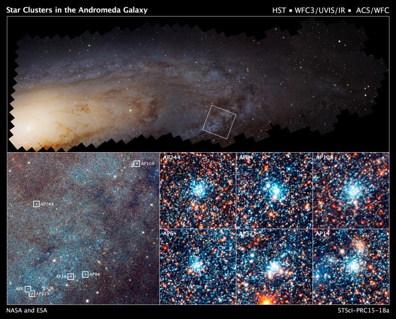 تصویر موزاییکی بالا از ترکیب ۴۱۴ عکس تلسکوپ هابل از کهکشان آندرومدا بدست آمده و تصویرهای پایین خوشه های ستاره ای واقع در این کهکشان را نشان می دهند.
