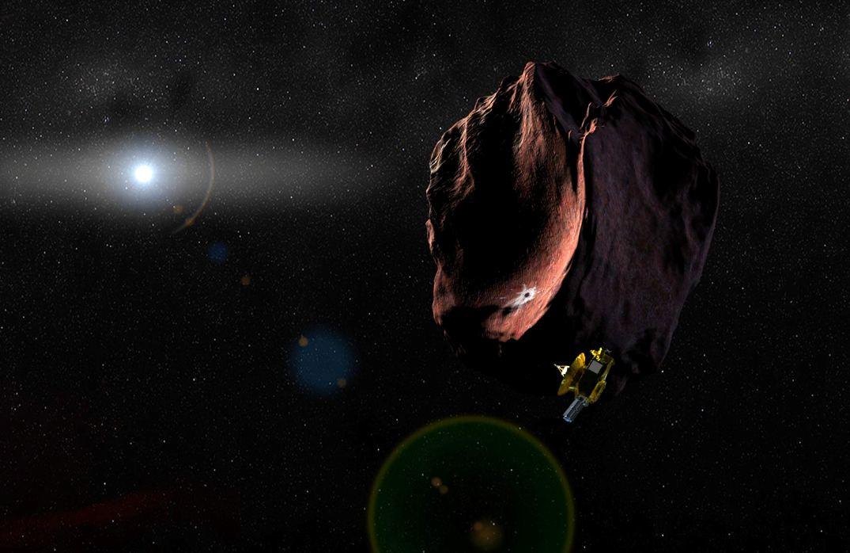 تصویری هنری از ملاقات فضاپیمای افق های نو و جرم بنام ۲۰۱۴ MU69 که در سال 2019 به وقوع می پیوندد.