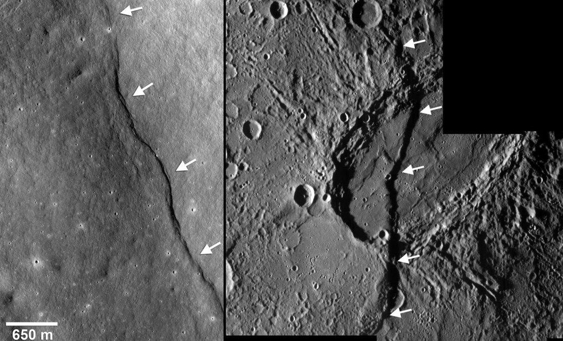 همانطور که ماه در حال انقباض و فعالیت است، گرانش سیاره زمین نیز بر جهت گیری هزاران شکستگی به وجود آمده بر سطح کره ماه تاثیر گذار بوده است.
