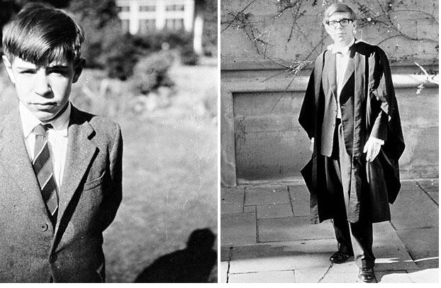 استیون در دوران مدرسه و نوجوانی (سمت چپ)، استیون در زمان آکسفورد (سمت راست)