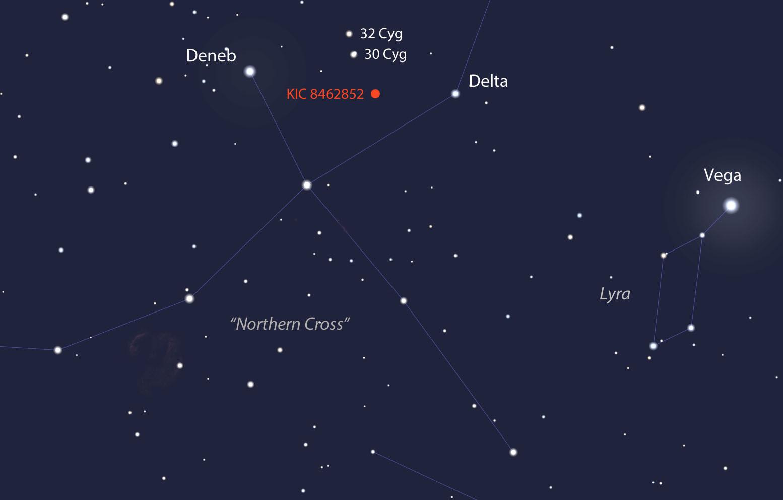 موقعیت ستاره یKIC 8462852 که بین صور فلکی ماکیان و شلیاق واقع شده است.
