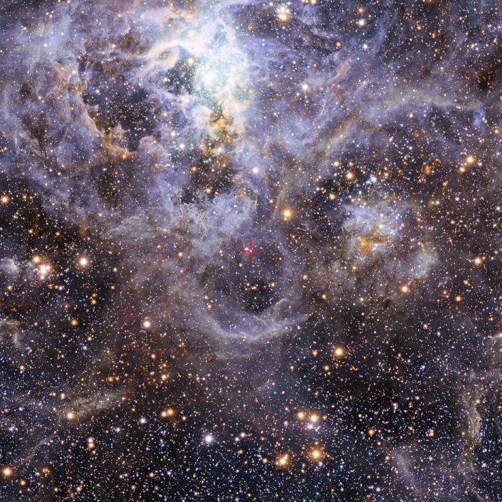 علامت سرخ رنگ در این تصویر سیستم دو ستاره ای VFTS 352 را مشخص کرده است. همچنین این نما از سحابی رتیل شکل گیری ستارگان را در نور مرئی و مادون قرمز تلسکوپ بزرگ اروپا نشان می دهد.