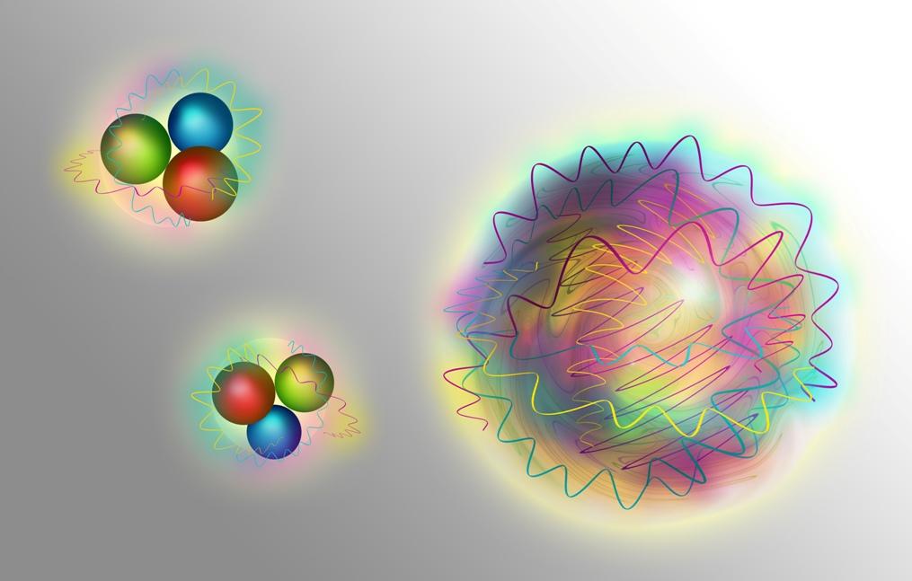 ذرات نوکلئون ها (سمت چپ) از کوارک ها (ذرات ماده) و گلوئونها (ذرات نیروی) تشکیل شده و گلوبال ها (سمت راست) صرفا از گلوئون ها یا نیروی خالص هستهای ساخته شده اند.