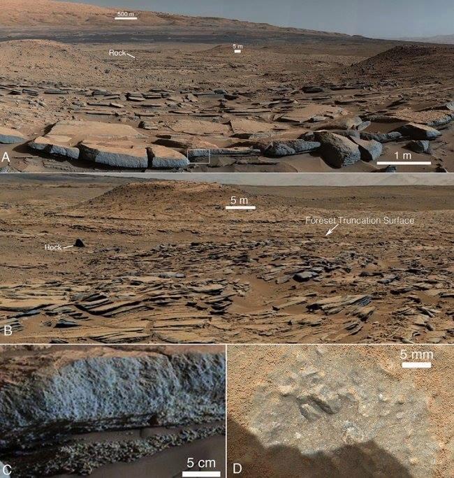 عکس های که مریخ نورد کنجکاوی از منطقه ی مطالعاتی در پای کوه شارپ گرفته است.