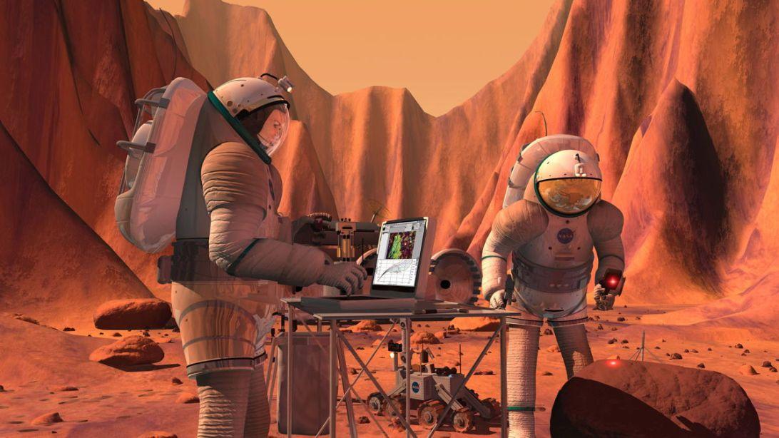 تصویری هنری از حضور فضانوردان روی سیاره ی سرخ