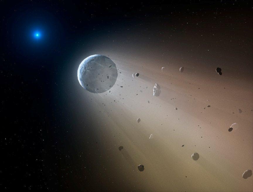 تصویری هنری از هم پاشیدن سیارهای از سوی ستاره ای کوتوله سفید