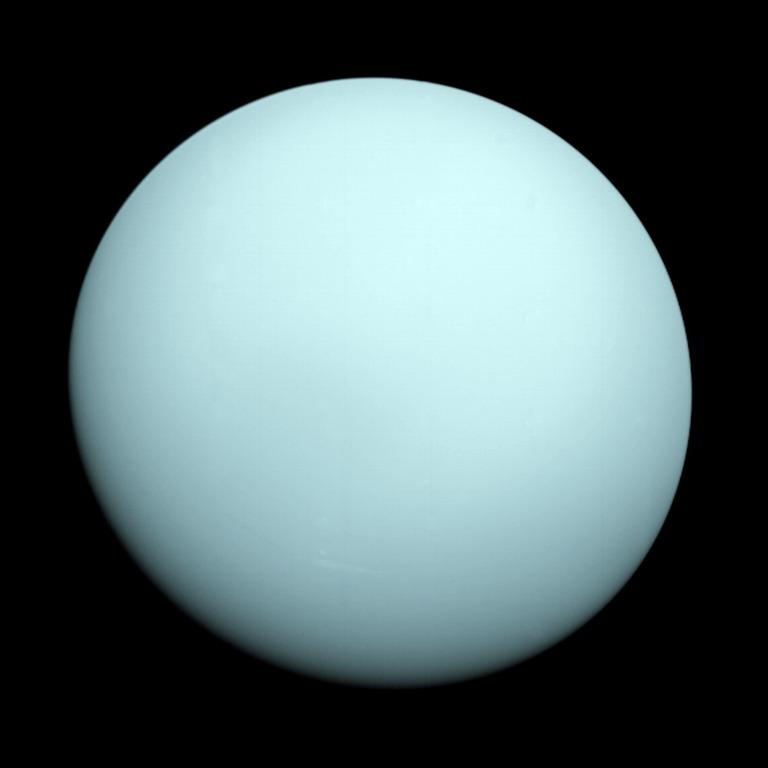تصویری از سیاره ی اورانوس که فضاپیمای ویجر 2 در سال 1986 ثبت کرده است.