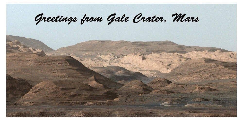 """این """"کارت پستال"""" مریخی به مناسبت این فرستاده شده که خودروی کنجکاوی هشتمین سوراخ را در سنگ های سیاره ی سرخ ایجاد کرده!"""