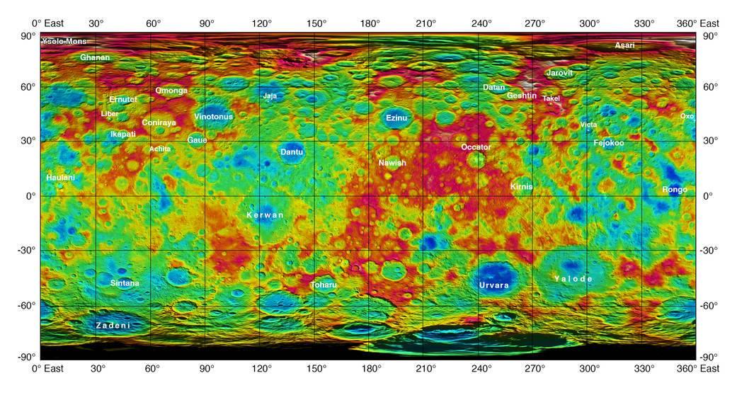 در این نقشه ی رنگی که فضاپیمای سپیده دم ثبت کرده پستی و بلندی های سطح سیاره ی کوتوله ی سرس مشخص است.