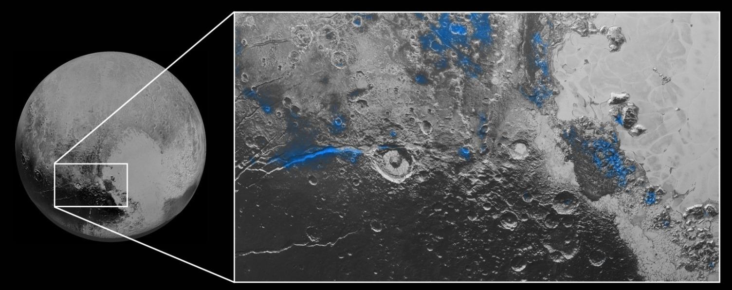 تصویری از یخ آب در پلوتو که با رنگ آبی مشخص شده و توسط ابزار نقشهبردار طیفی رالف افق های نو کشف شده است.