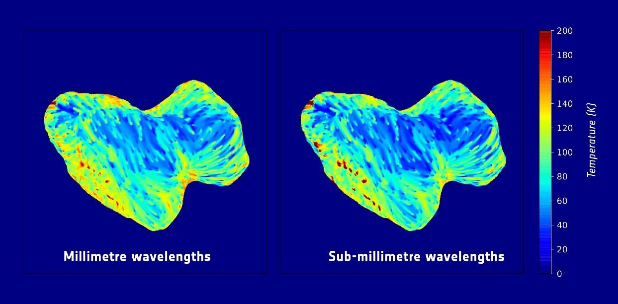 نقشه دمای زیر سطحی نیمکره ی جنوبی دنباله دار چوريوموف که با ابزار مایکروویو فضاپیمای روزتا بدست آمده است.