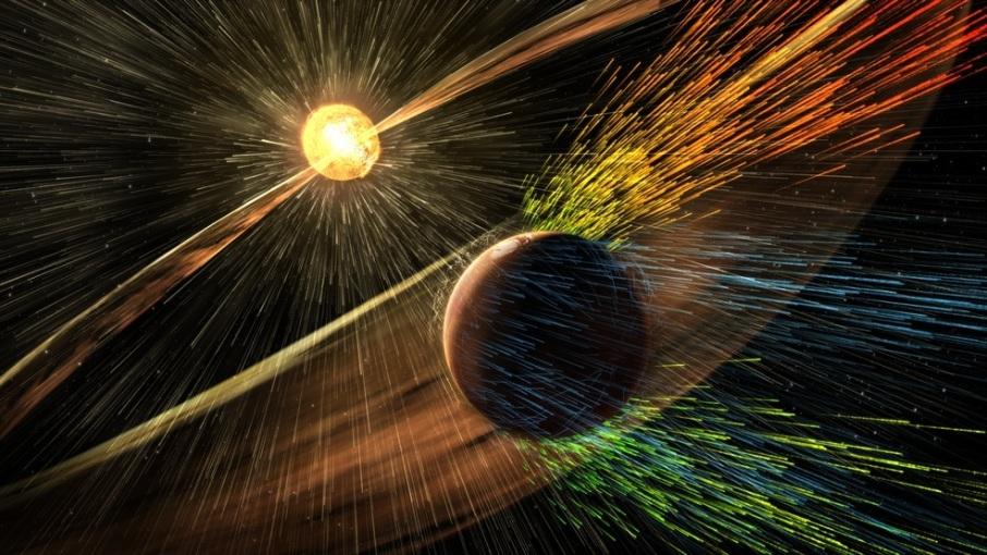 طرحی از برخورد طوفان های خورشیدی به مریخ که باعث پرتاب یون ها از لایه بیرونی اتمسفر مریخ می شود.