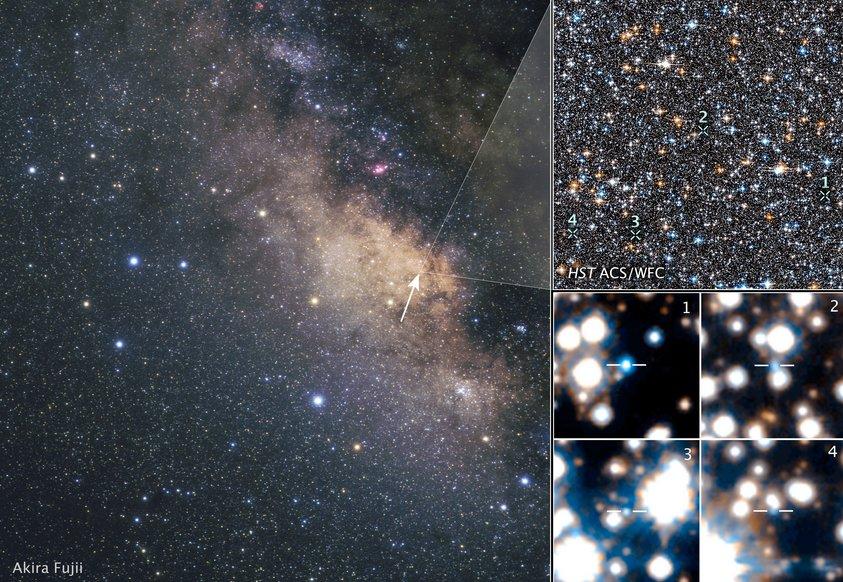 تصویری از موقعیت ستاره های کوتوله ی سفید در مرکز کهکشان راه شیری