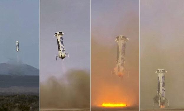 تصویری از لحظه ی فرود موفقیت آمیز این موشک فضایی، نیو شپرد عمودی پرتاب می شود و عمودی هم فرود می آید.