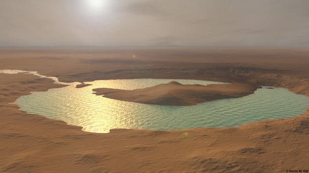 یک تصویر شبیه سازی شده از دریاچه ای باستانی در مریخ