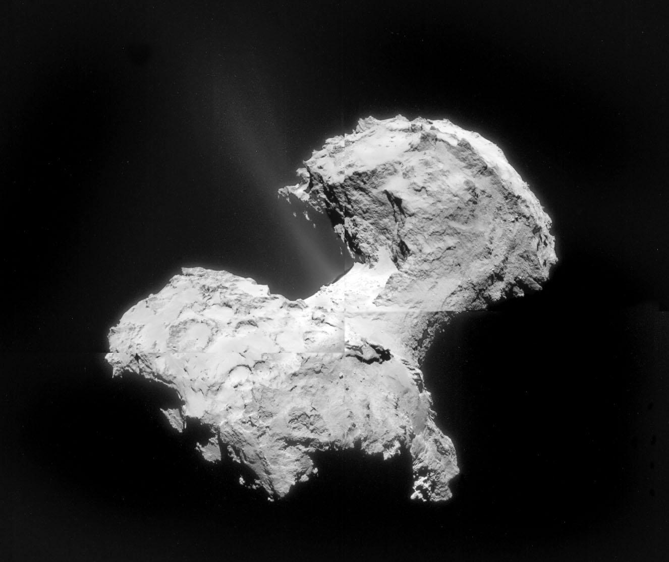 تصویری از فواره و بلورهای یخ که همراه با غبار از دنباله دار پی۶٧به فضا پاشیده می شود.