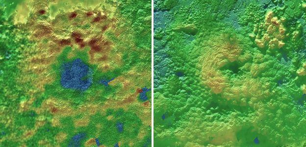 تصویری از کوههای رایت(تصویر راست) و پیکارد در جنوب فلات اسپوتنیک واقع در خط استوای پلوتو