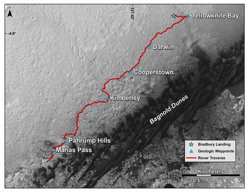 مسیر حرکت کنجکاوی از محل فرودش در سال 2012 تا پای کوه شارپ در نزدیکی تپه های شنی تا نوامبر 2015