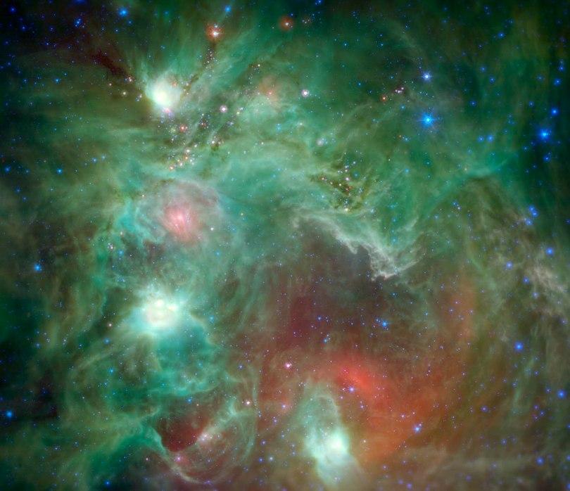 تصویر فرو سرخ از منطقه تشکیل ستاره در NGC 2174، که تلسکوپ فضایی اسپیتزر ثبت کرده است.