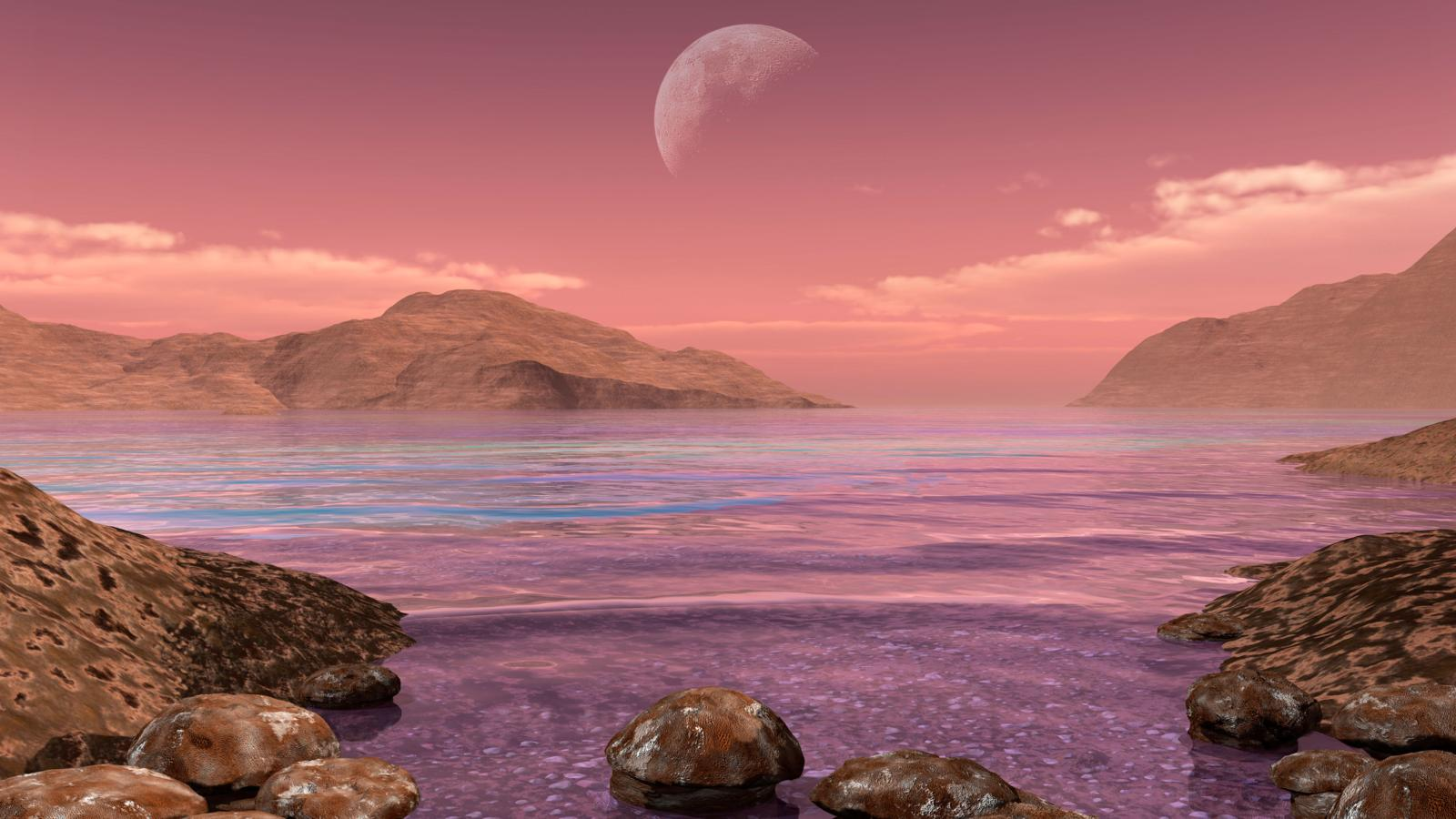 Artist's concept of Archean stromatolites on the shore of an ancient sea.