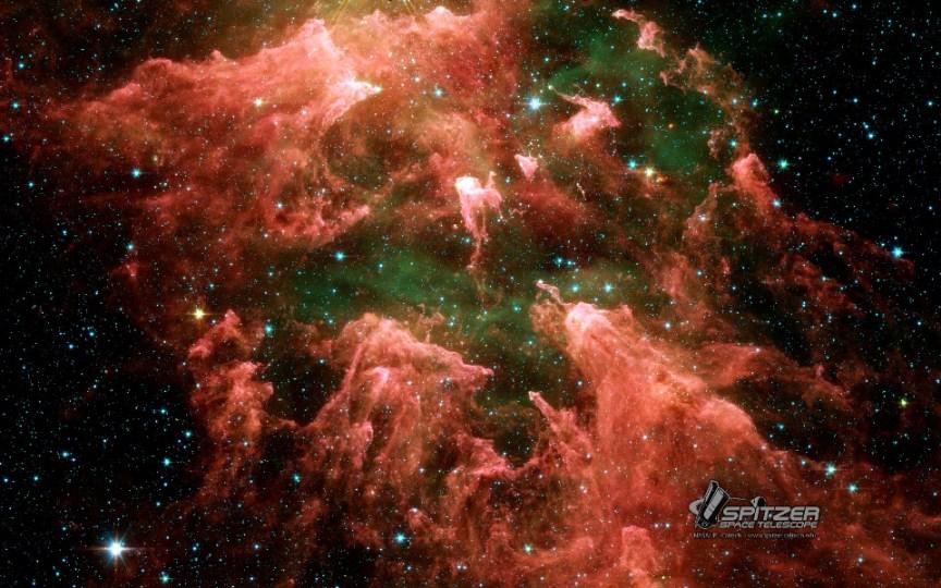 این تصویر تلسکوپ مادون قرمز اسپیتزر، ستون جنوبی یکی از مناطق تشکیل ستاره در سحابی کارینا را نشان میدهد.