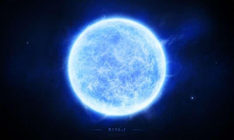 تصویری هنری از R136a1 ، سنگین ترین ستاره ی جهان