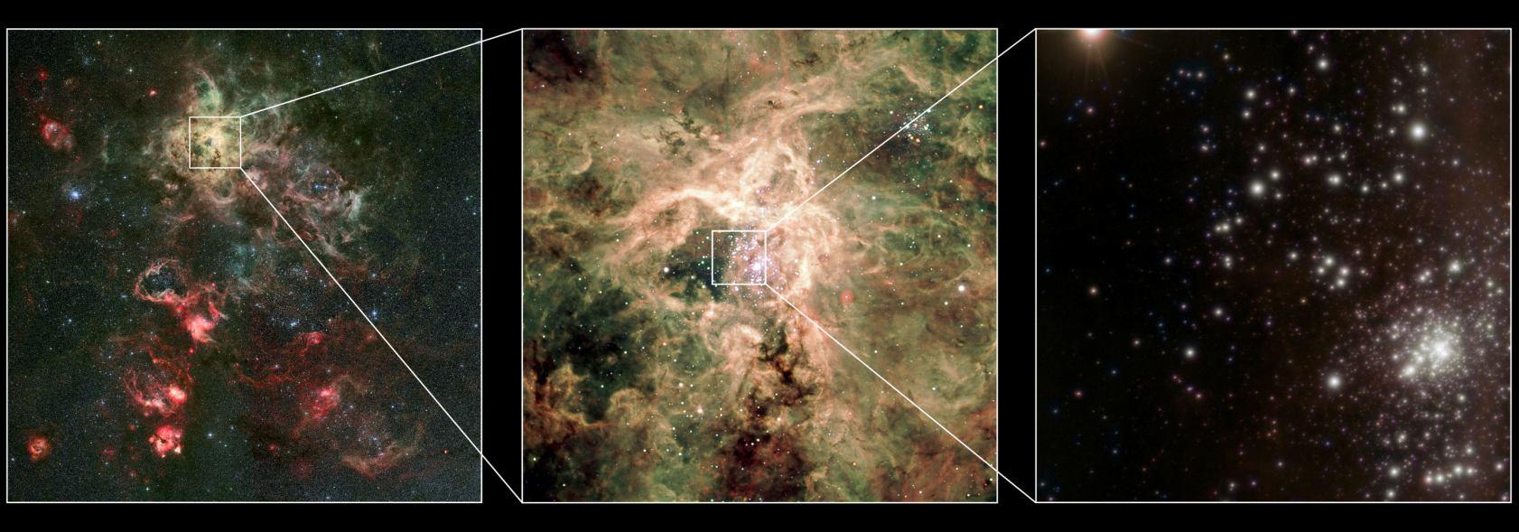 ستاره یR136a1، در مجموعهای متراکم از ستاره ها قرار دارد که در فاصله ی ۱۶۵ هزار سال نوری از زمین قرار گرفته است.