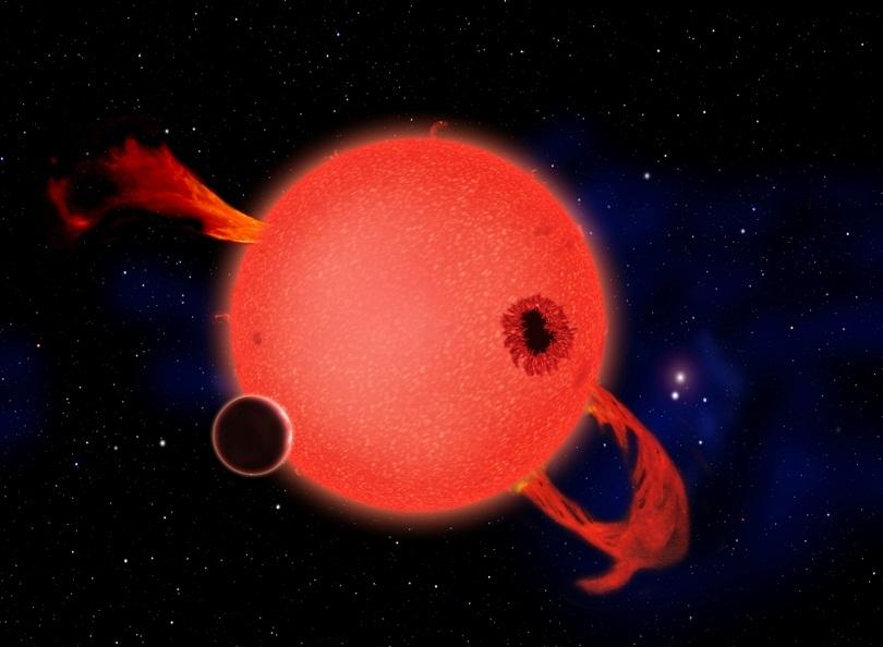 تصویری هنری از ستاره ی کوتوله ی سرخ