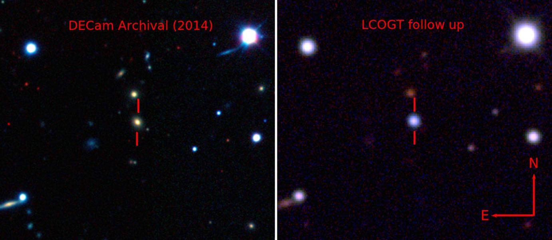 عکسی از قبل و بعد از انفجار ستاره ای در این کهکشان دور دست