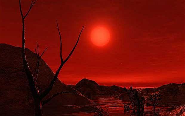 نمایی هنری از روی سیاره ی بیگانه ای که کوتوله ی سرخ میزبانش است