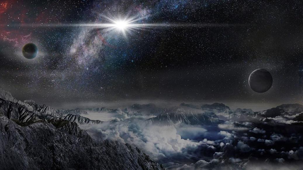 این تصویر هنری درخشش این ابرنواختر را از یک سیاره ی فرضی در فاصله ی 10 هزار سال نوری از این انفجار ستاره ای نشان می دهد.