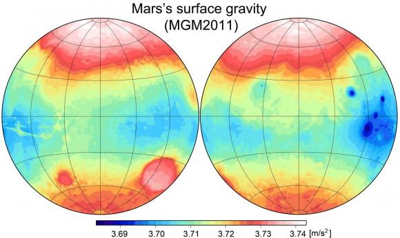 نقشه ای که میزان تفاوت شتاب گرانش در سطح سیاره ی مریخ نشان می دهد.