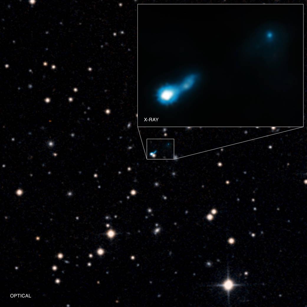 فواره ی بلند پرتو ایکس که از اختروش B3 0727+409 بیرون زده. تصویر زمینه در طیف نور دیدنی است و تصویر پیوست در طیف پرتو ایکس.