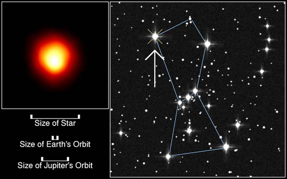 موقعیت ستاره درخشان بتلگئوس در صورت فلکی شکارچی