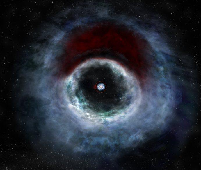 تصویری هنری از قرص پیش سیاره ای HD 142527 شامل یک ستاره ی اصلی بیش از دو برابر جرم خورشید ما و یک ستاره همدم کوچکتر تنها حدود یک سوم جرم خورشید