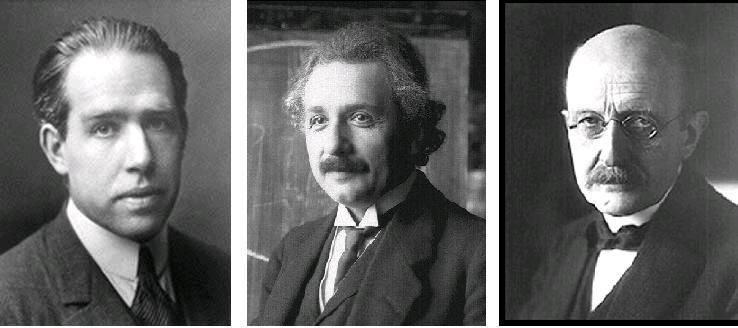 از راست به چپ: ماکس پلانک، آلبرت اینشتین، نیلز بور
