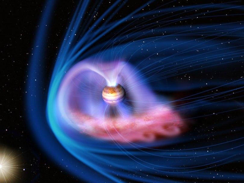 تصویری هنری از مِغناطکُره یا مَگنِتوسفِر سیاره ی مشتری