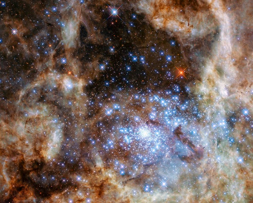 این ستارگان عظیم در قلب سحابی رتیل در ابر ماژلانی بزرگ رصد شدند.