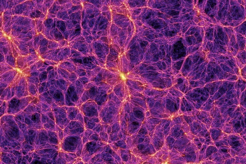 شبیه سازی ابر خوشه های بزرگ کهکشانی که در میانشان فضای خالی دیده می شود.