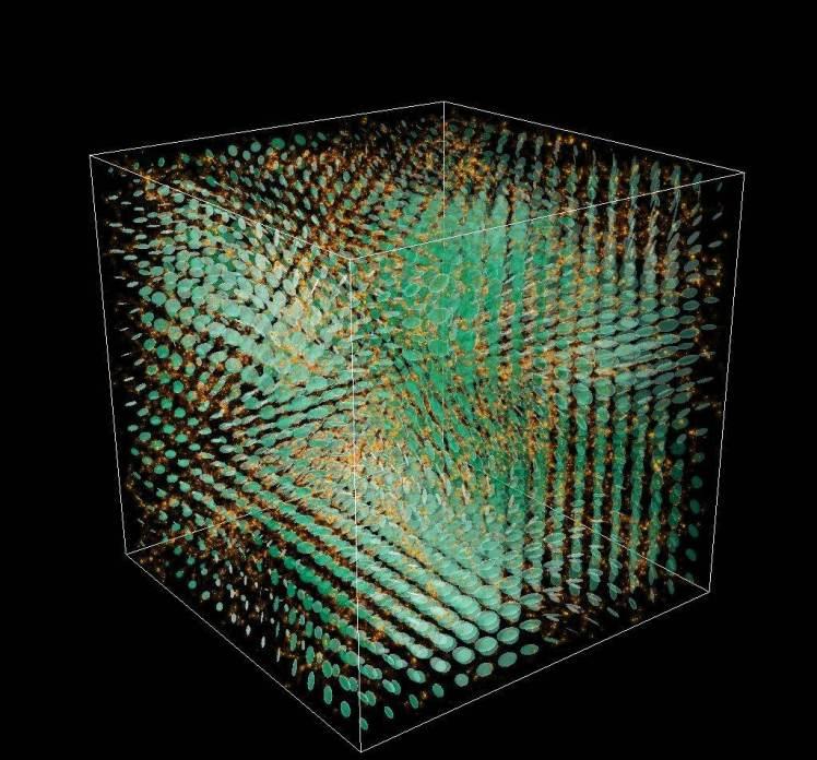 در این تصویر امواج گرانشی تولید شده در حین شکل گیری و تکامل ساختارهای کیهانی نشان داده شده است.
