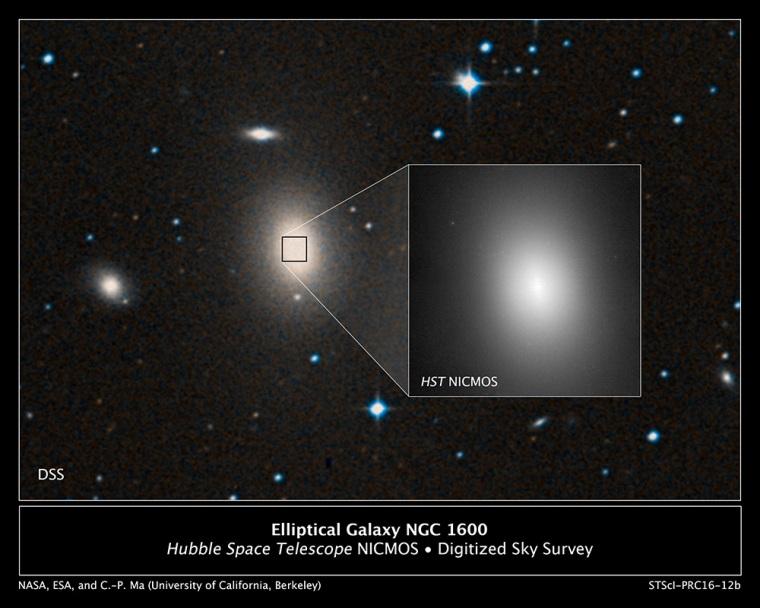 کهکشان NGC 1600 در مرکز خود سیاهچاله ی عظیم و پرجرمی را جای داده است.