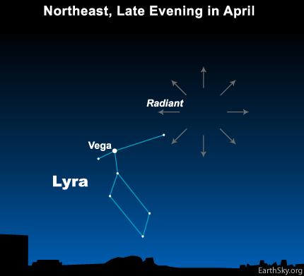 نقاط بارش شهابی در نزدیکی ستاره درخشان وگا در صورت فلکی شلیاق