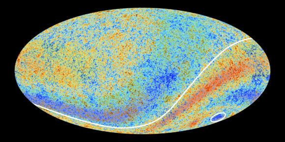 در نقشه ی تابش پس زمینه مایکروویو کیهانی، ناهنجاری هایی دیده می شود.