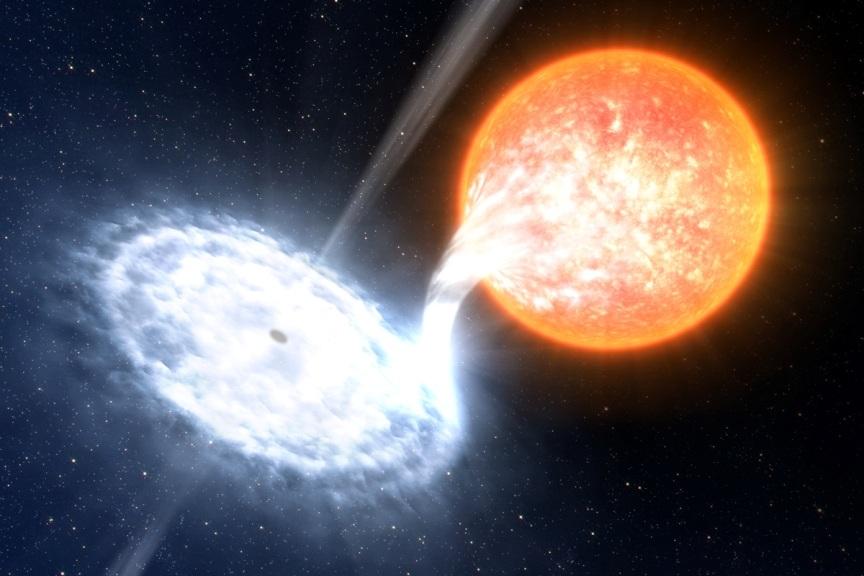تصویری هنری از لحظه ی بلعیدن یک ستاره توسط سیاهچاله