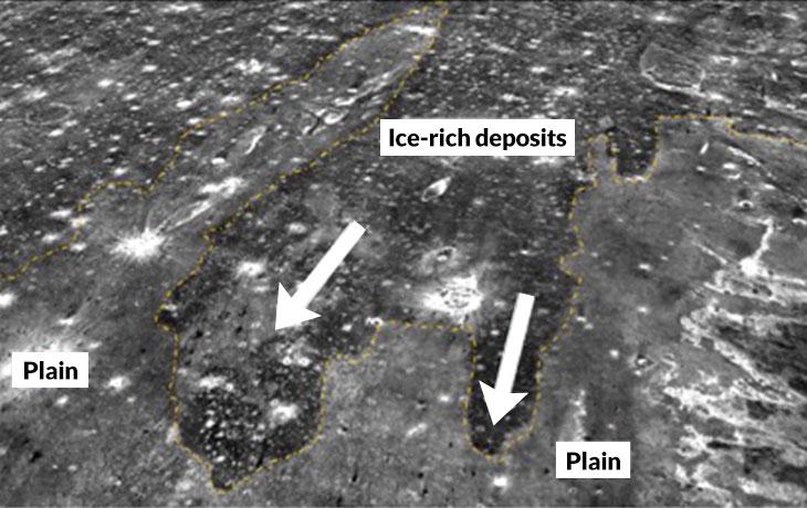 یک سونامی انبوه غول آسایی از آب و یخ را از اقیانوس باستانی مریخ به درون خشکی راند. در این تصویر گرمایی، پسمانده های یخ زده ی سونامی به درازای ۲۵۰ کیلومتر تیره تر از سطح پیرامونشان دیده می شوند