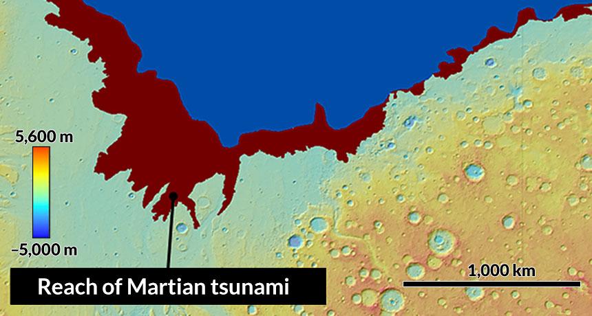 برخورد دو سیارک می توانسته باعث سونامی هایی سهمگین روی سیاره ی مریخ شده باشد و خط های ساحلی آن را در ۳.۴ میلیارد سال پیش تغییر داده باشد. ناحیه های سرخ رنگ نشان دهنده ی پهنهایست که در اثر سونامی نخست زیر آب رفته بود.