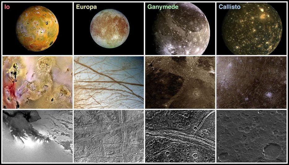 ویژگی های سطحی چهار قمر بزرگ مشتری با سطوح مختلف زوم شده در هر ردیف