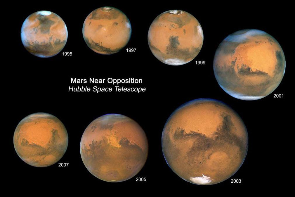 عکس های مریخ که تلسکوپ هابل از سال 1995 تا سال 2007 ثبت کرده است.